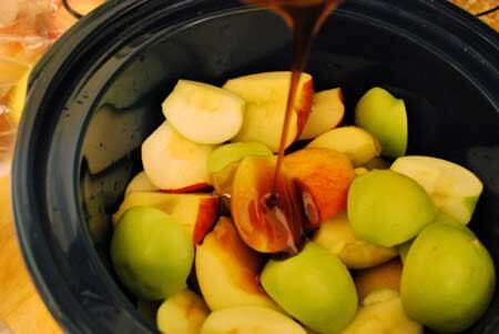 Step three for making this Homemade Apple Butter is to add the molasses and honey.
