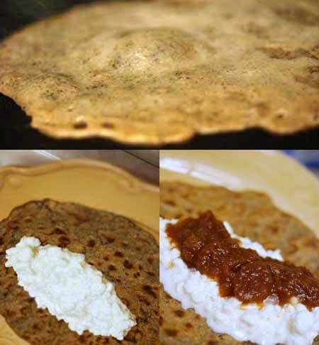 Showing steps for layering the filling of your buckwheat crepes.