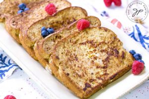 The final step showed the prepared Healthy French Toast on a serving platter