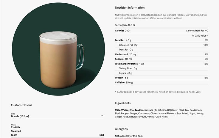 Starbucks Chai Latte Nutrition Data