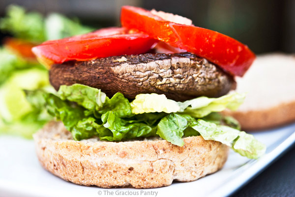 Clean Eating Lemon Portobello Mushroom Burgers
