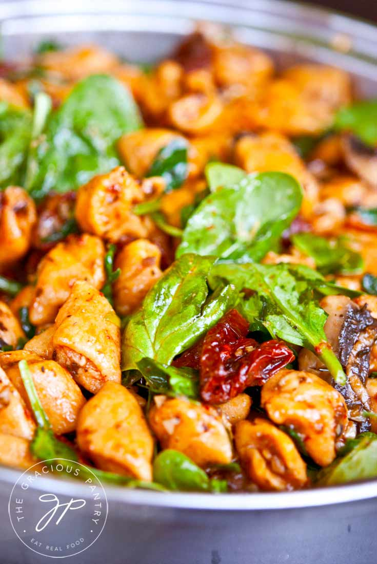 Clean Eating Sweet Potato Gnocchi With Mushrooms And Sun Dried Tomatoes Recipe In Pan