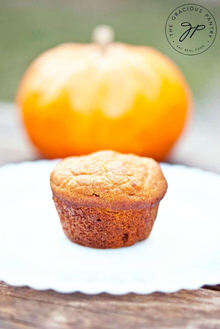 One from a big batch of Clean Eating Pumpkin Spice Mini Muffins sits on a white plate in front of a pumpkin, ready to eat.