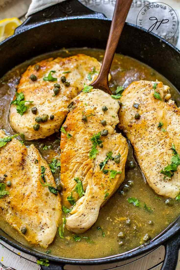 Finished Lemon Caper Chicken still in the skillet and ready to serve.