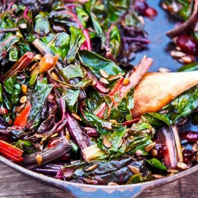 This rainbow chard recipe makes a delicious and nutritious side dish. Filled with superfoods including cranberries and sun flower seeds, you'll enjoy this again and again!