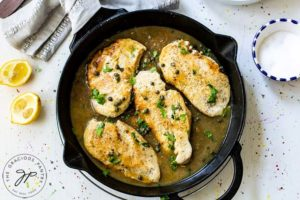 The finished lemon caper chicken, ready to serve over pasta, rice, or just by itself!