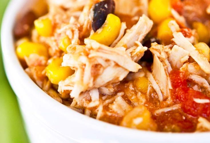 southwest chicken crockpot dinner in white bowl