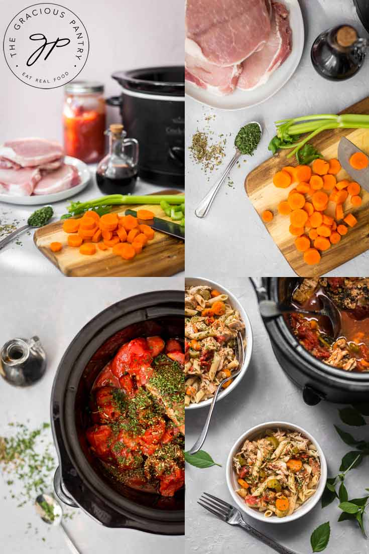 This is a collage of the steps for making this Clean Eating Slow Cooker Pork Ragout recipe.