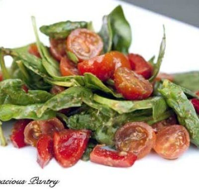 Clean Eating Spinach Salad with Pesto Dressing