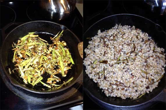 Clean Eating Farro, Leek and Pecan Pilaf