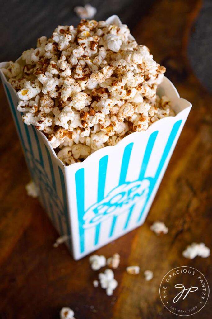 Kettle Corn in a popcorn bucket.