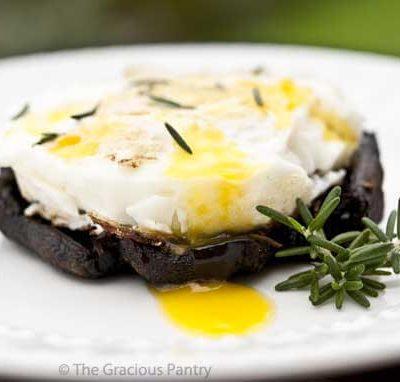 Clean Eating Baked Eggs On Balsamic Portobello Mushrooms