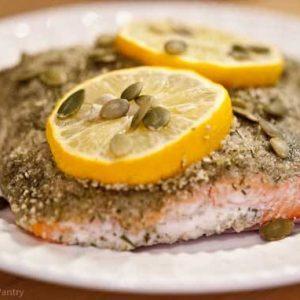 Clean Eating Pumpkin Seed Crusted Salmon