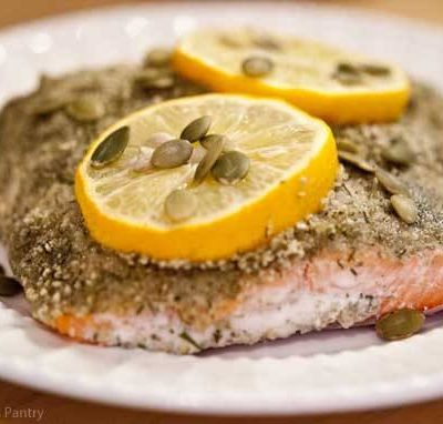 Clean Eating Pumpkin Seed Crusted Salmon