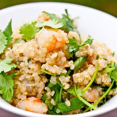 Clean Eating Quinoa Garlic Shrimp & Cilantro Salad Recipe
