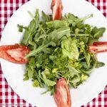 overhead image of mesclun salad