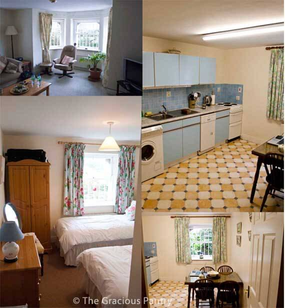 A collage of the inside of the Cobh house's downstairs apartment where we stayed. It shows the living room and several images of the kitchen where we enjoyed many home cooked meals.