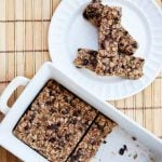 no bake granola bars in pan and on plate