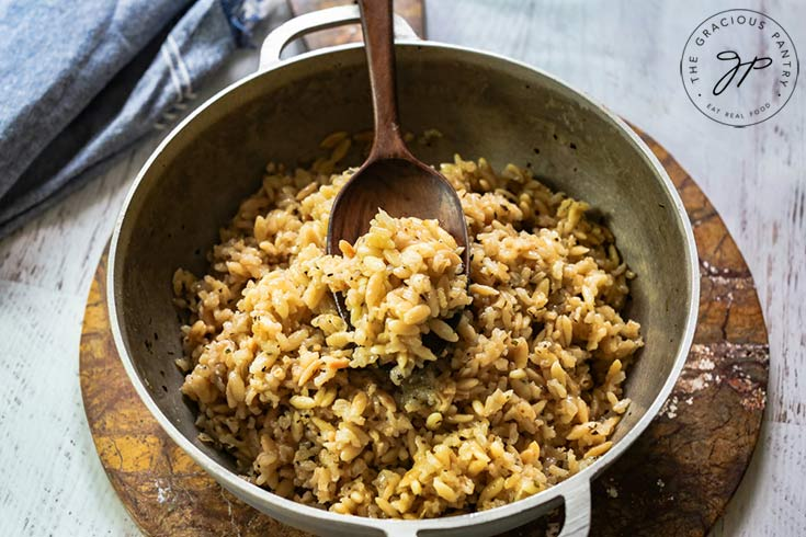 Transfer the rice pilaf to a serving bowl.