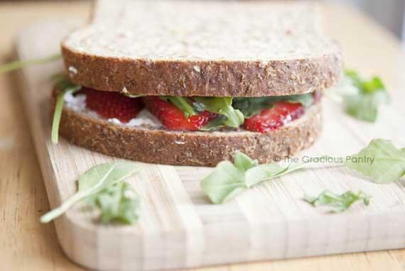 Clean Eating Goat Cheese and Strawberry Sandwich Recipe