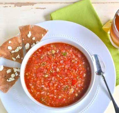 Clean Eating Gazpacho With Warm Flatbread