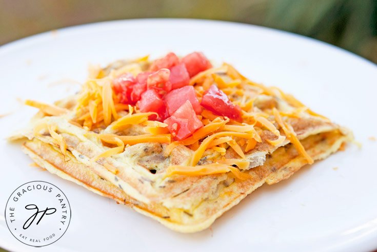 Clean Eating Waffle Iron Omelets Recipe Served