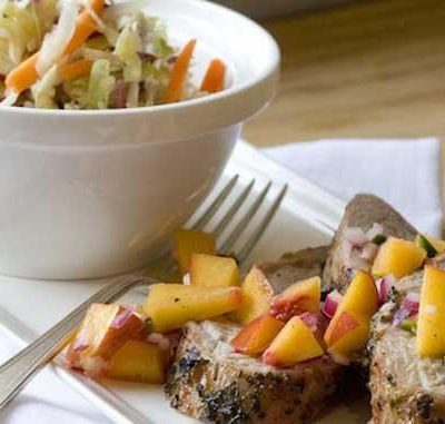 Clean Eating Pork Tenderloin with Peach Salsa and Peppery Slaw