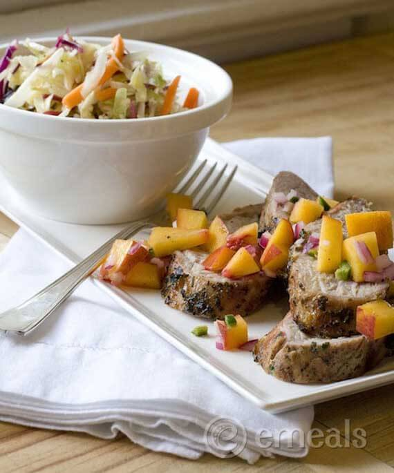 Clean Eating Pork Tenderloin with Peach Salsa and Peppery Slaw