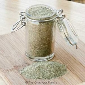 homemade Italian seasoning recipe ingredients in a glass jar