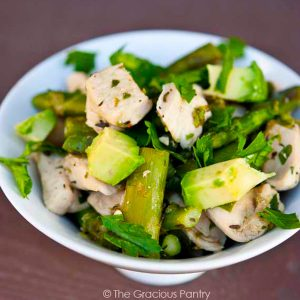 Chicken Asparagus Skillet Recipe in a bowl and ready to eat.