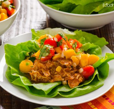 Clean Eating Slow Cooker Mexican Chicken Lettuce Cups with Mango Salsa