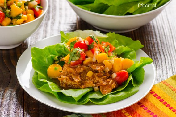 Slow Cooker Mexican Chicken Lettuce Cups with Mango Salsa