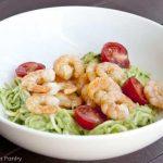 Clean Eating Shrimp Zucchini Pasta With Avocado Alfredo Sauce