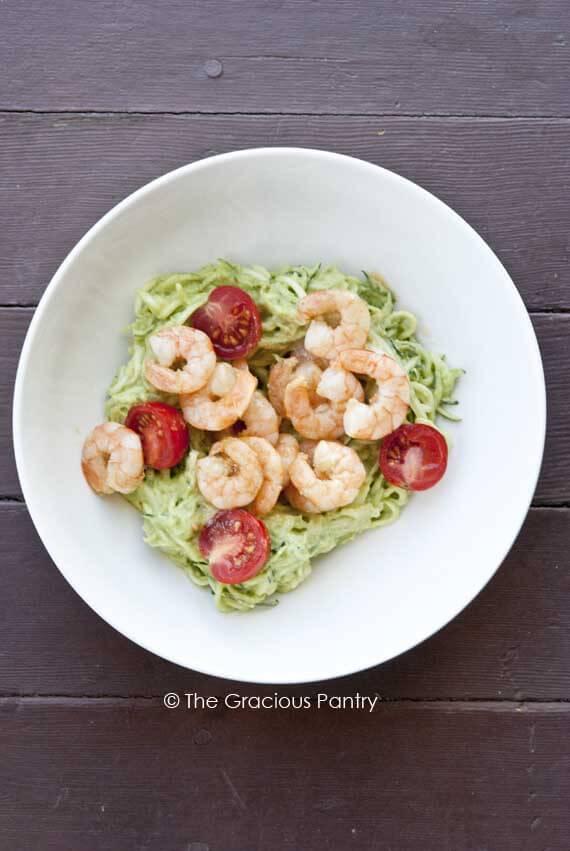 Shrimp Zucchini Pasta With Avocado Pesto Alfredo Recipe
