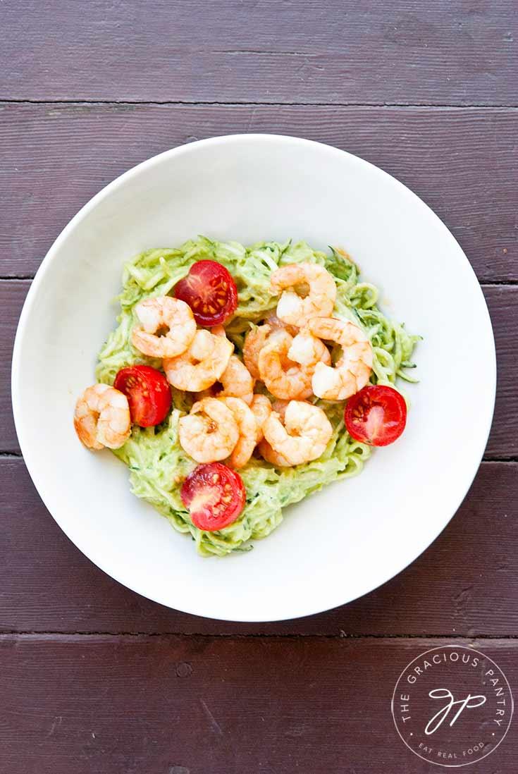 Clean Eating Shrimp Zucchini Pasta With Avocado Pesto Alfredo Recipe
