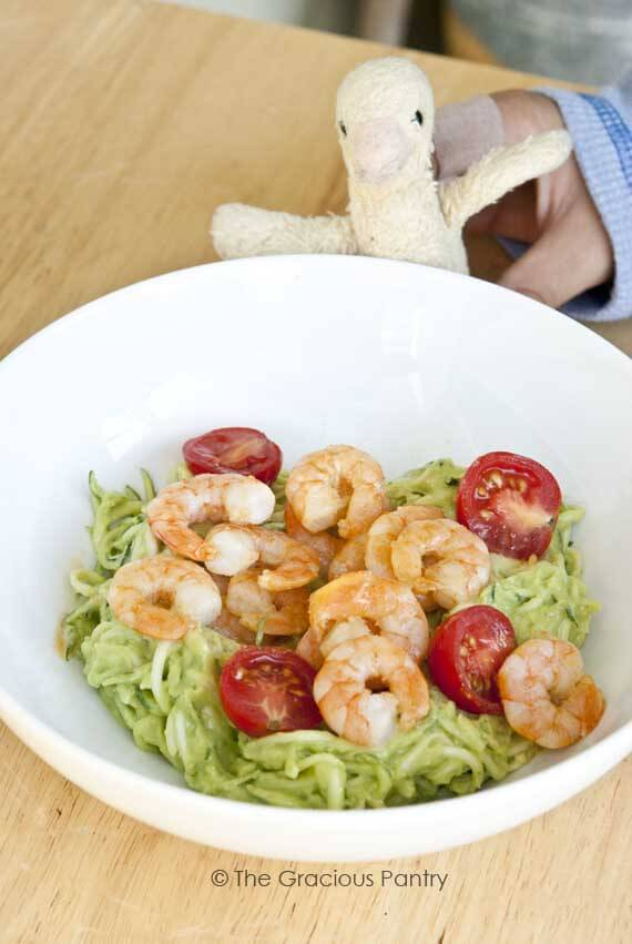 shrimp zucchini pasta with avocado alfredo sauce
