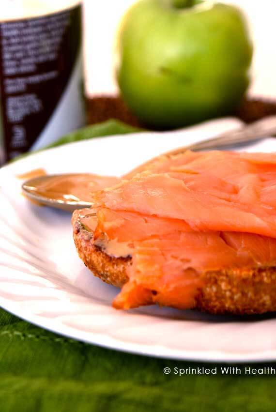 10 Clean Eating On-The-Go Breakfast Recipes - Whole Grain Bagel with Tahini and Smoked Salmon