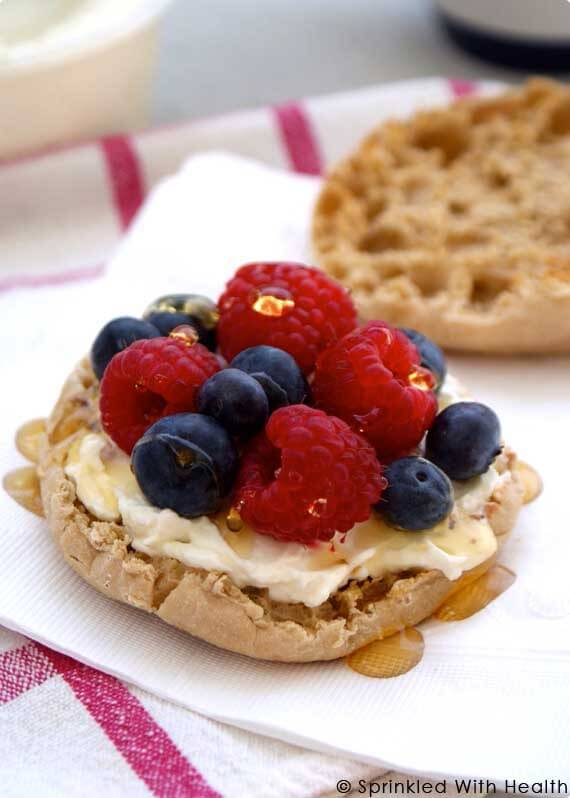 10 Clean Eating On-The-Go Breakfast Recipes - Berries and Cream English Muffin Sandwich