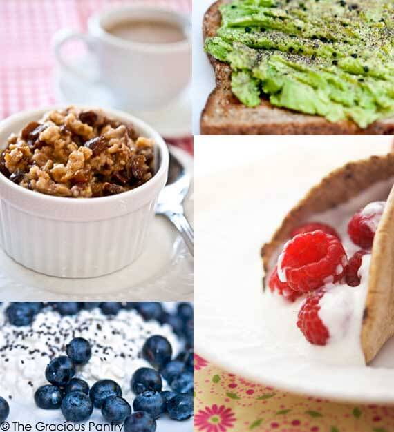 Four of eleven Quick Easy Clean Eating Back To School Breakfast Ideas for busy mornings.