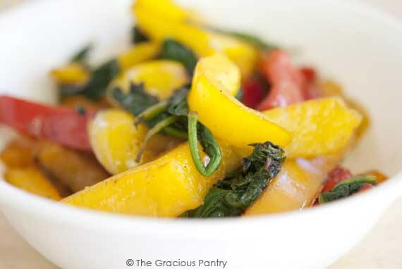 Clean Eating Garlic Peppers And Spinach