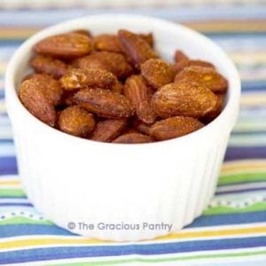 bowl of spicy roasted almonds