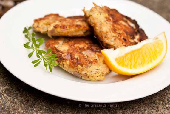 Clean Eating Tuna Patties Recipe on white plate with lemon slices ready to eat.