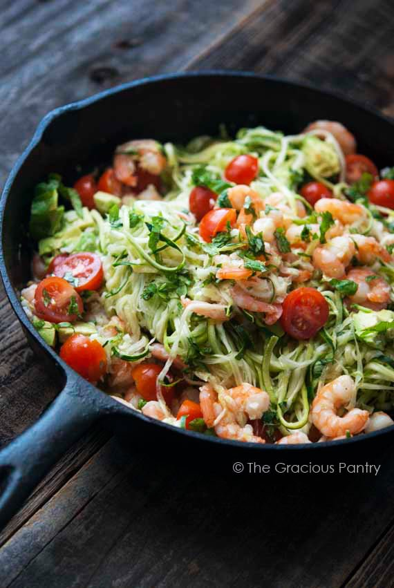 Clean Eating Shrimp Zoodles Recipe The Gracious Pantry