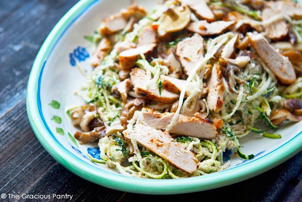 Clean Eating Shiitake and Hazelnut Zoodles With Barbecued Chicken