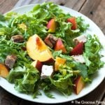 Clean Eating Pork, Peach & Arugula Salad With Peach Vinaigrette