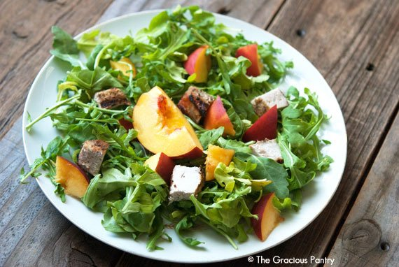 Clean Eating Pork Peach Arugula Salad With Peach Vinaigrette Recipe