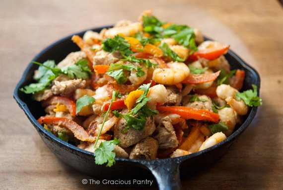 Clean Eating Barbecued Southwestern Chicken And Shrimp Skillet