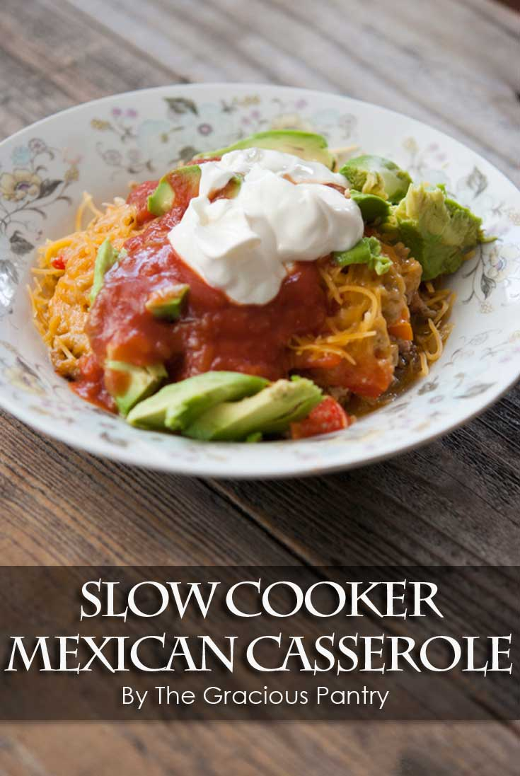 A single serving of this Clean Eating Slow Cooker Mexican Casserole served in a bowl and ready to eat.