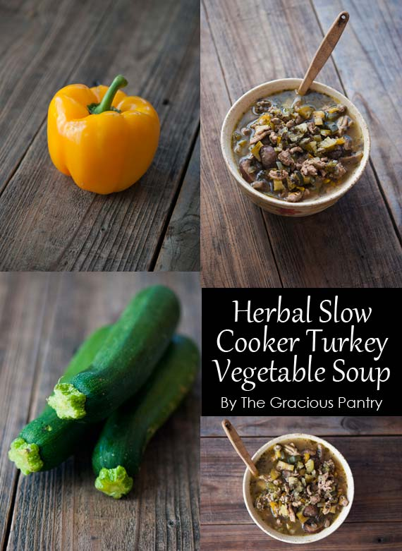 Image is a collage of four photos. Two are of the soup in a beige ceramic bowl, one is of an yellow bell pepper and the last is of a zucchini. These are ingredients for this Clean Eating Slow Cooker Herbal Turkey Vegetable Soup