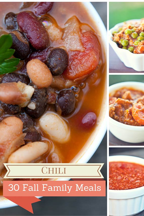 Four images of clean eating chili recipes from this list of 30 Clean Eating Fall Family Meals